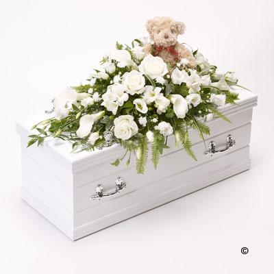 Childrens Casket Spray with Teddy Bear   White *