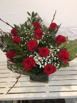 12 First Red Roses and Gypsophila
